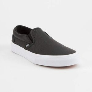 VANS TUMBLE LEATHER SLIP ON BLACK